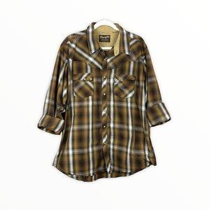 Wrangler Retro Pearl Snap Distressed Western Shirt